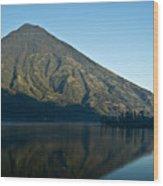 Volcano Reflected In Atitlan Lake 5 Wood Print