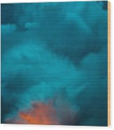 Volcano Smoke And Fire Wood Print
