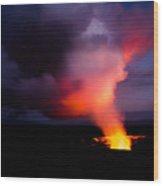 Volcano Sunset Wood Print