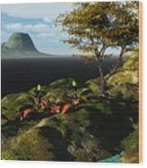 Volcano View Wood Print