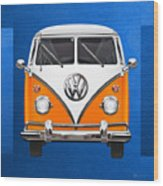 Volkswagen Type - Orange And White Volkswagen T 1 Samba Bus Over Blue Canvas Wood Print by Serge Averbukh