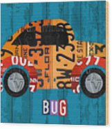 Volkswagen Vw Bug Vintage Classic Retro Vehicle Recycled License Plate Art Usa Wood Print