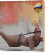 Volleyball Dig Wood Print