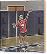 Volleyball Girl Wood Print by Kelley King