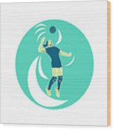 Volleyball Player Spiking High Circle Retro Wood Print