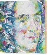 Voltaire - Watercolor Portrait Wood Print