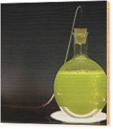 Volumetric Flask With Green Liquid Chemical Experiment Wood Print