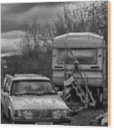 Volvo And Trailer Wood Print