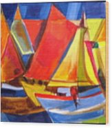 Voyage Of Boats Wood Print