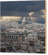 Vue De La Butte Montmartre.roofs Of Paris Wood Print