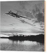Vulcan Low Over A Sunset Lake Sunset Lake Bw Wood Print