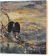 Vulture With Oncoming Storm Wood Print