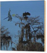 Vultures And The Witch Wood Print
