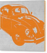 Vw Beetle Orange Wood Print by Naxart Studio