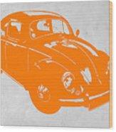 Vw Beetle Orange Wood Print by Naxart Studio