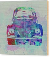 Vw Beetle Watercolor 2 Wood Print by Naxart Studio