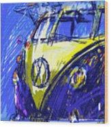 Vw Bus Blue Wood Print