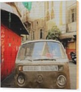 Vw Bus Parked In Basta Beirut  Wood Print