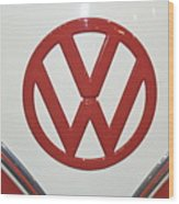 Vw Emblem In Red Wood Print
