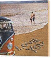Vw Love On Beach Wood Print