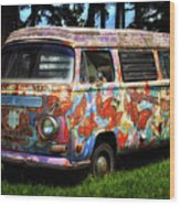 Vw Psychedelic Microbus Wood Print
