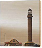 Wacky Weather At Point Arena Lighthouse - California Wood Print by Christine Till