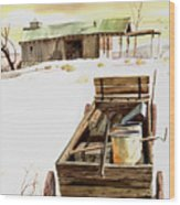 Wagon At White Sands Wood Print
