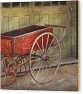Wagon - That Old Red Wagon  Wood Print by Mike Savad
