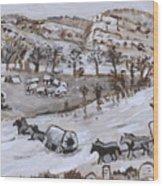 Wagon Train Crossing River Wood Print