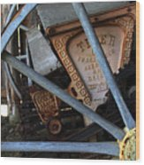 Wagon Wheel And Grass Seeder Wood Print