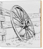 Wagon Wheel Wood Print by Bob Hallmark