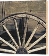 Wagon Wheel - Old West Trail N832 Sepia Wood Print