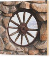 Wagon Wheel Window Wood Print