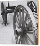 Wagon Wheels In Snow Wood Print
