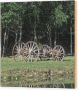 Wagon Wheels Reflecting In A Pond Wood Print