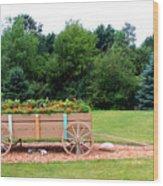 Wagon With Flowers Wood Print
