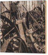 Wagons Whoa Bw Wood Print