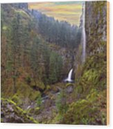 Wahclella Falls In Columbia River Gorge Wood Print