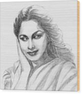 Waheeda Rehman Bollywood Actress Wood Print
