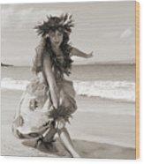 Wahine Hula Wood Print