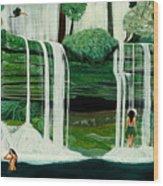 Wahines In Waterfall Wood Print