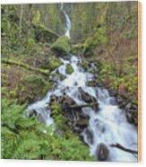 Wahkeena Falls Oregon Waterfall Wood Print by Dustin K Ryan