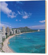 Waikiki And Diamond Head Wood Print