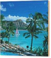 Waikiki And Sailboat Wood Print