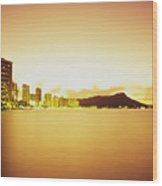 Waikiki At Sunset Wood Print
