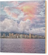 Waikiki Beach Sunset Wood Print