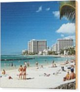Waikiki Beach Wood Print