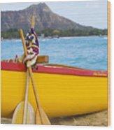 Waikiki Canoe Paddles Wood Print