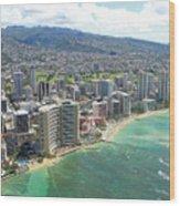 Waikiki From The Air  Wood Print