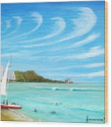 Waikiki Wood Print by Jerome Stumphauzer